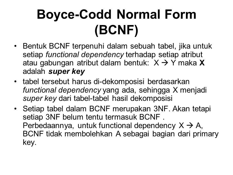 Boyce-Codd Normal Form (BCNF) •Bentuk BCNF terpenuhi dalam sebuah tabel, jika untuk setiap functional dependency terhadap setiap atribut atau gabungan