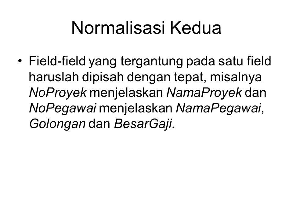Normalisasi Kedua •Field-field yang tergantung pada satu field haruslah dipisah dengan tepat, misalnya NoProyek menjelaskan NamaProyek dan NoPegawai m