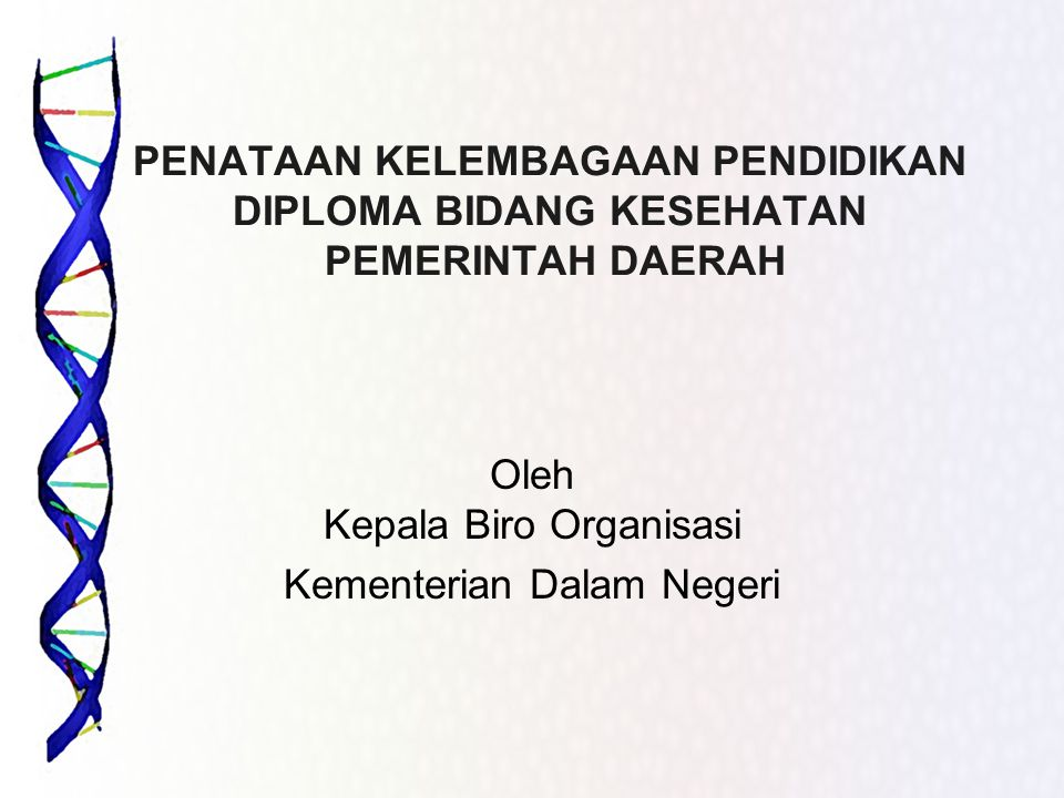PENATAAN KELEMBAGAAN PENDIDIKAN DIPLOMA BIDANG KESEHATAN PEMERINTAH DAERAH Oleh Kepala Biro Organisasi Kementerian Dalam Negeri