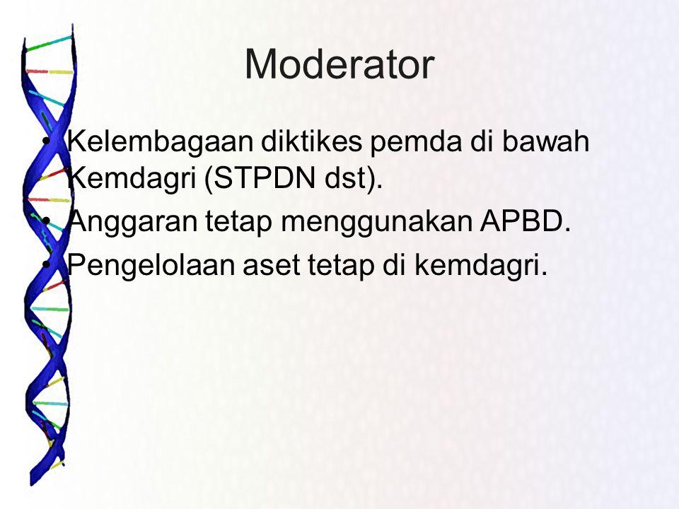 Moderator •Kelembagaan diktikes pemda di bawah Kemdagri (STPDN dst). •Anggaran tetap menggunakan APBD. •Pengelolaan aset tetap di kemdagri.