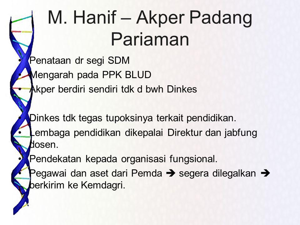 M. Hanif – Akper Padang Pariaman •Penataan dr segi SDM •Mengarah pada PPK BLUD •Akper berdiri sendiri tdk d bwh Dinkes •Dinkes tdk tegas tupoksinya te