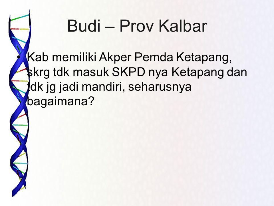 Budi – Prov Kalbar •Kab memiliki Akper Pemda Ketapang, skrg tdk masuk SKPD nya Ketapang dan tdk jg jadi mandiri, seharusnya bagaimana?