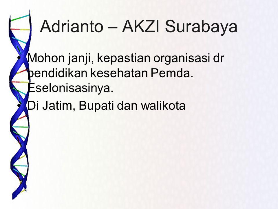 Adrianto – AKZI Surabaya •Mohon janji, kepastian organisasi dr pendidikan kesehatan Pemda. Eselonisasinya. •Di Jatim, Bupati dan walikota