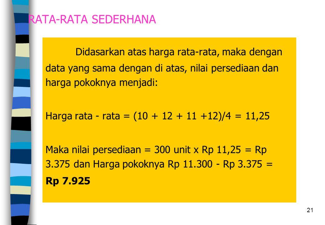 21 RATA-RATA SEDERHANA Didasarkan atas harga rata-rata, maka dengan data yang sama dengan di atas, nilai persediaan dan harga pokoknya menjadi: Harga