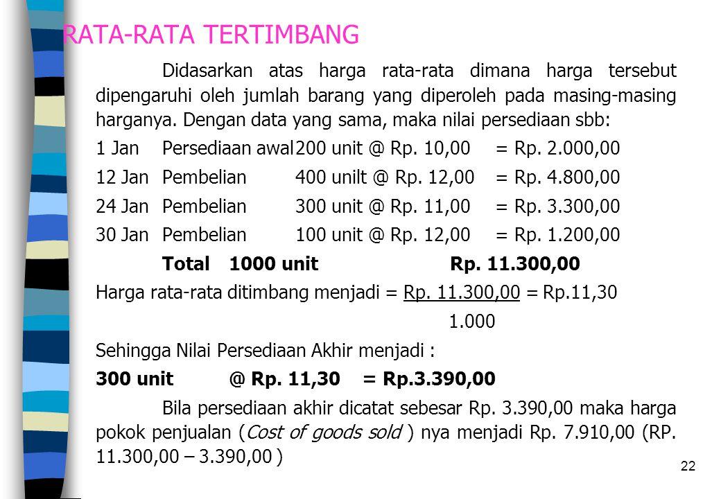 22 RATA-RATA TERTIMBANG Didasarkan atas harga rata-rata dimana harga tersebut dipengaruhi oleh jumlah barang yang diperoleh pada masing-masing hargany