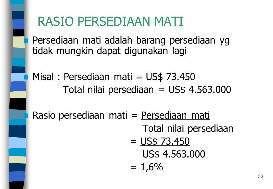 33 RASIO PERSEDIAAN MATI  Persediaan mati adalah barang persediaan yg tidak mungkin dapat digunakan lagi  Misal : Persediaan mati = US$ 73.450 Total