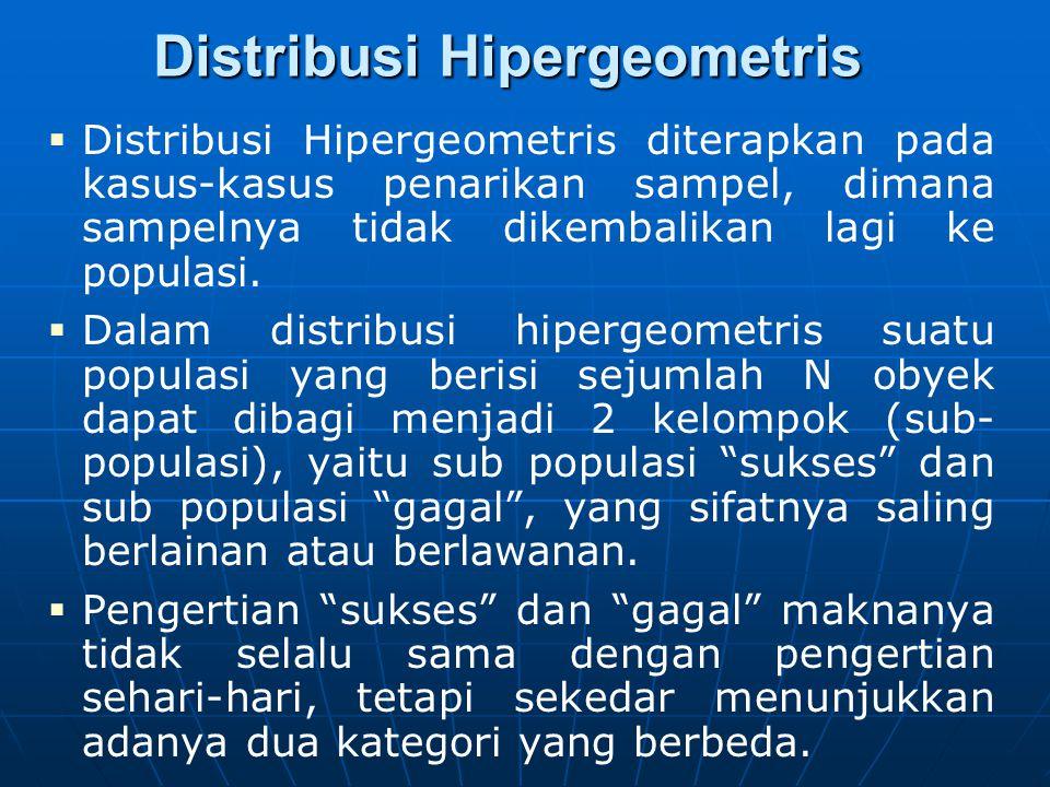 Distribusi Hipergeometris   Distribusi Hipergeometris diterapkan pada kasus-kasus penarikan sampel, dimana sampelnya tidak dikembalikan lagi ke popu