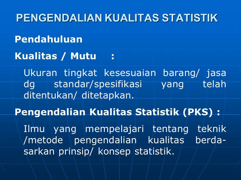 PENGENDALIAN KUALITAS STATISTIK Pendahuluan Kualitas / Mutu: Ukuran tingkat kesesuaian barang/ jasa dg standar/spesifikasi yang telah ditentukan/ dite