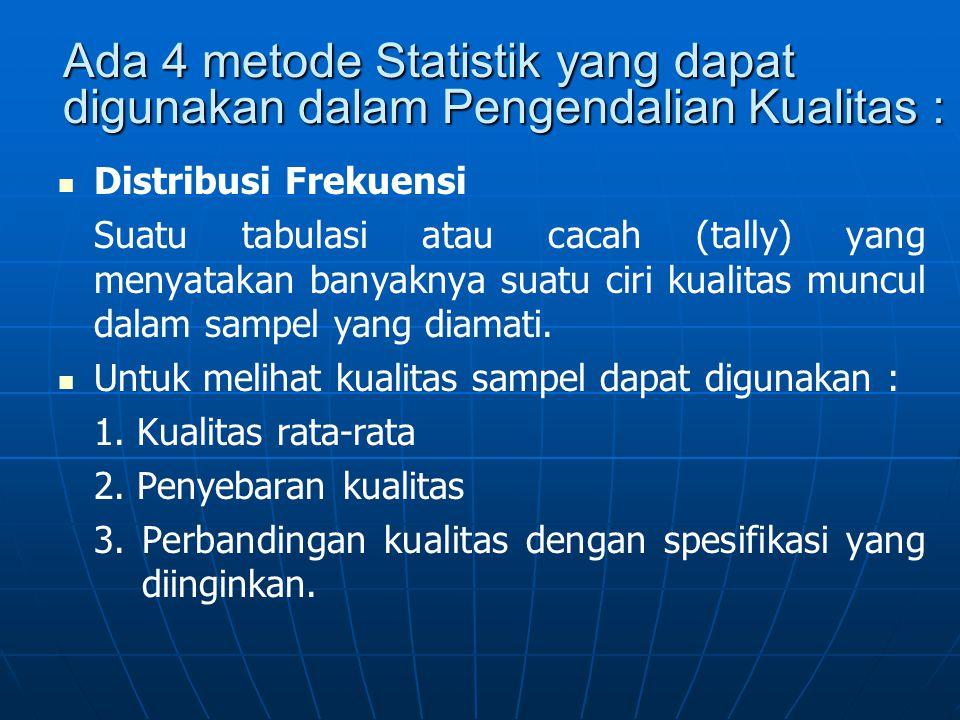 Ada 4 metode Statistik yang dapat digunakan dalam Pengendalian Kualitas :   Distribusi Frekuensi Suatu tabulasi atau cacah (tally) yang menyatakan b