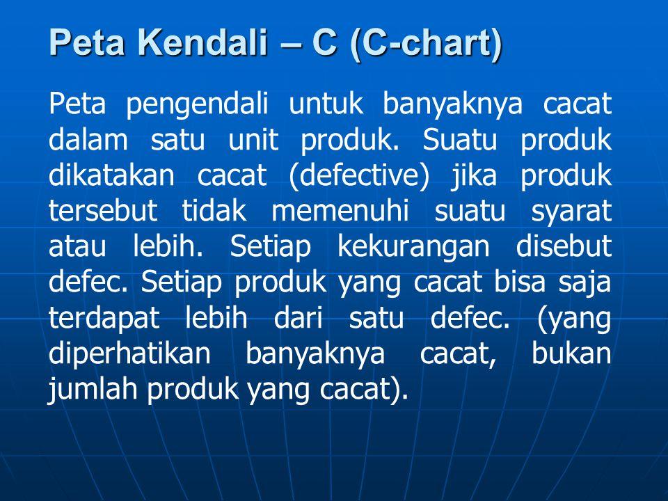 Peta Kendali – C (C-chart) Peta pengendali untuk banyaknya cacat dalam satu unit produk. Suatu produk dikatakan cacat (defective) jika produk tersebut