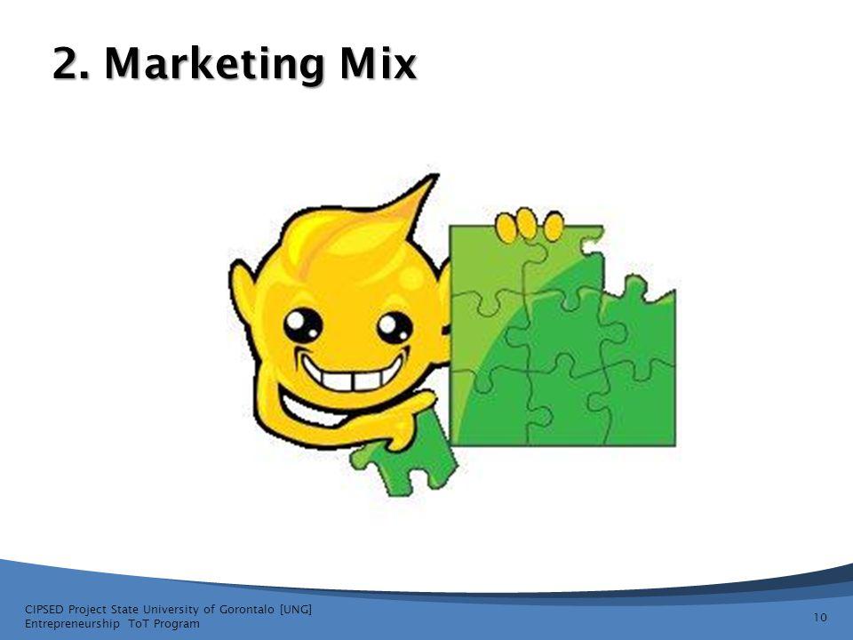 2. Marketing Mix CIPSED Project State University of Gorontalo [UNG] Entrepreneurship ToT Program 10