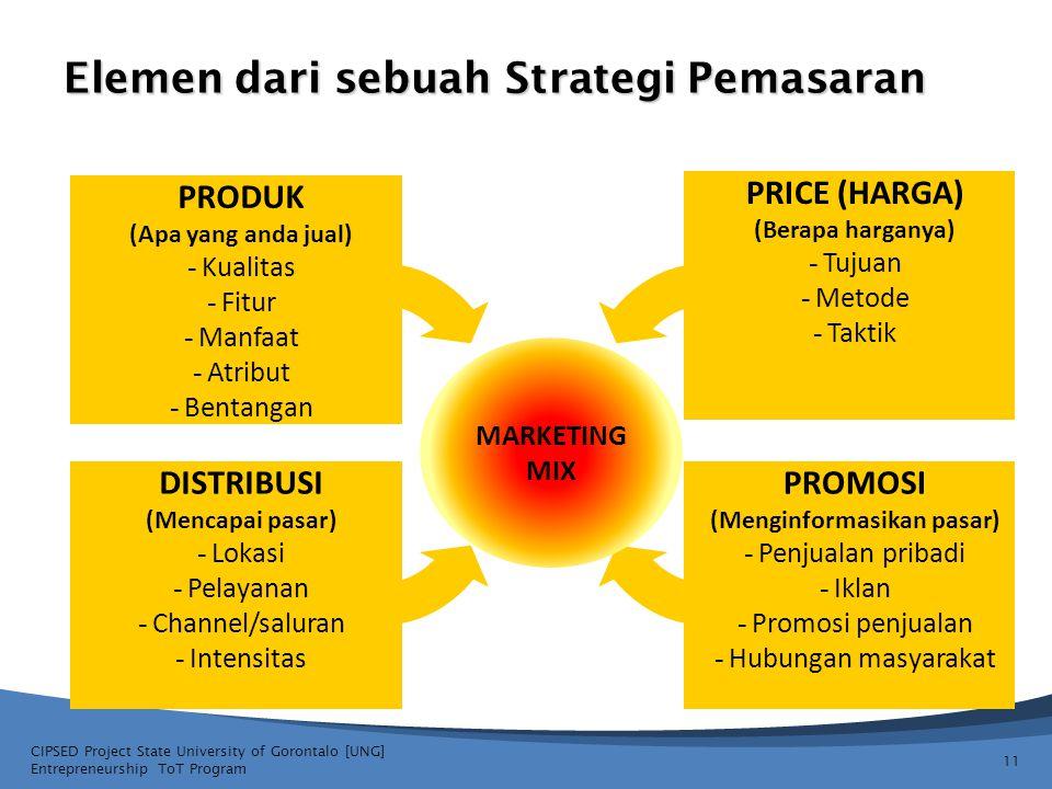11 Elemen dari sebuah Strategi Pemasaran PRODUK (Apa yang anda jual) - Kualitas - Fitur - Manfaat - Atribut - Bentangan DISTRIBUSI (Mencapai pasar) -