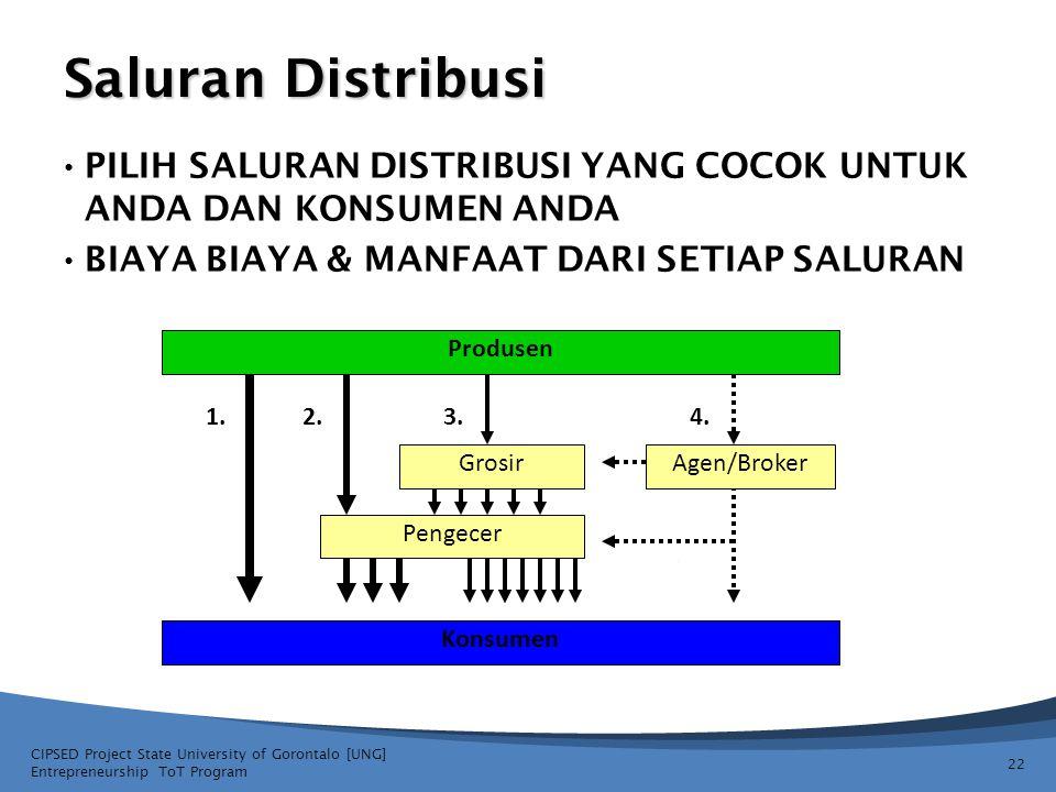 Saluran Distribusi Produsen Grosir Konsumen Pengecer Agen/Broker 1.2.3.4. 22 CIPSED Project State University of Gorontalo [UNG] Entrepreneurship ToT P
