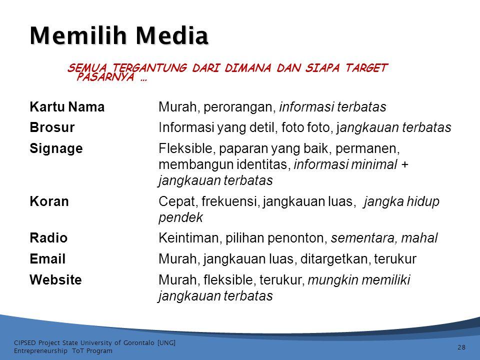 Memilih Media Kartu NamaMurah, perorangan, informasi terbatas BrosurInformasi yang detil, foto foto, jangkauan terbatas SignageFleksible, paparan yang