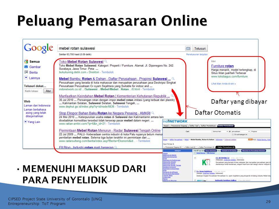 Peluang Pemasaran Online • MEMENUHI MAKSUD DARI PARA PENYELIDIK CIPSED Project State University of Gorontalo [UNG] Entrepreneurship ToT Program 29 Daf