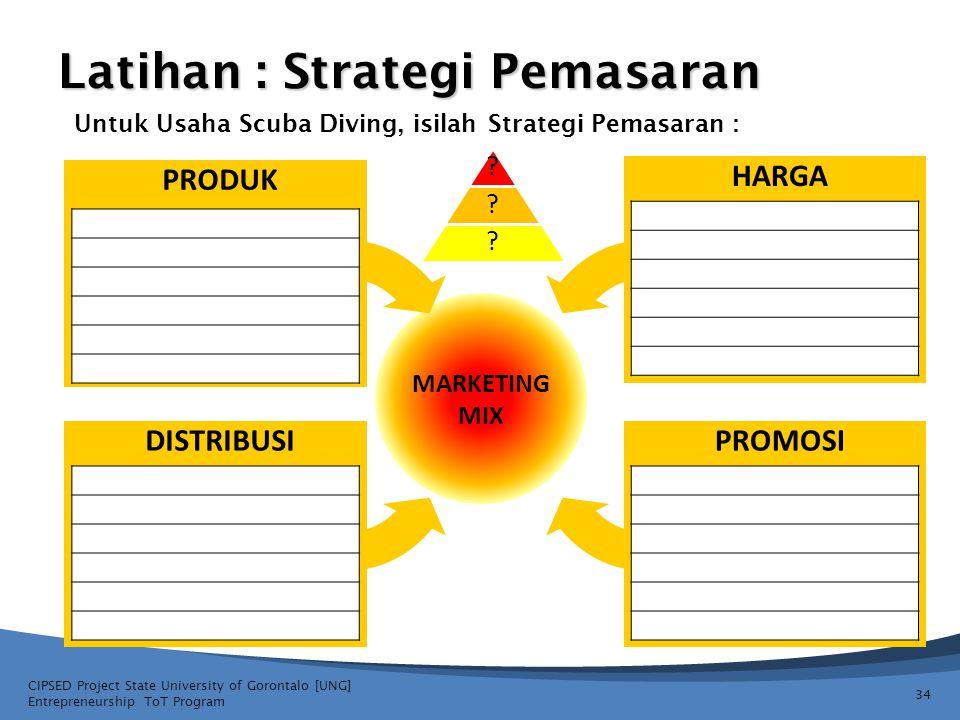 34 Latihan : Strategi Pemasaran PRODUK DISTRIBUSIPROMOSI HARGA MARKETING MIX CIPSED Project State University of Gorontalo [UNG] Entrepreneurship ToT P