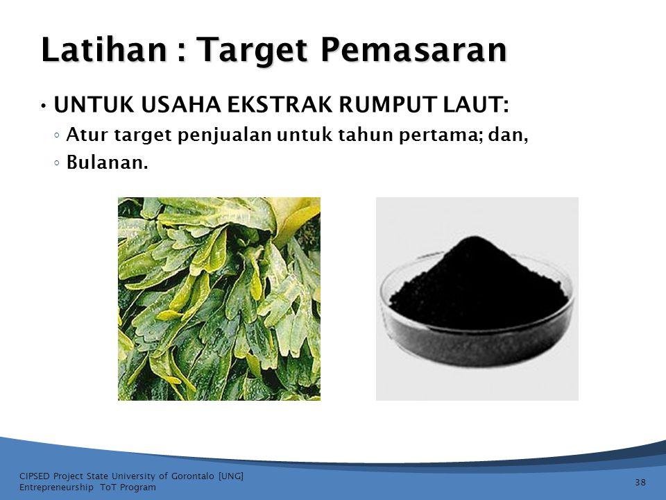 Latihan : Target Pemasaran • UNTUK USAHA EKSTRAK RUMPUT LAUT: ◦ Atur target penjualan untuk tahun pertama; dan, ◦ Bulanan. CIPSED Project State Univer