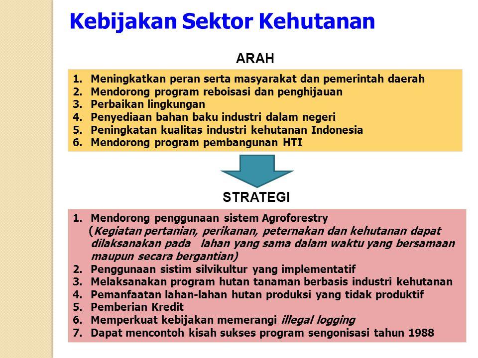 1.Meningkatkan peran serta masyarakat dan pemerintah daerah 2.Mendorong program reboisasi dan penghijauan 3.Perbaikan lingkungan 4.Penyediaan bahan ba