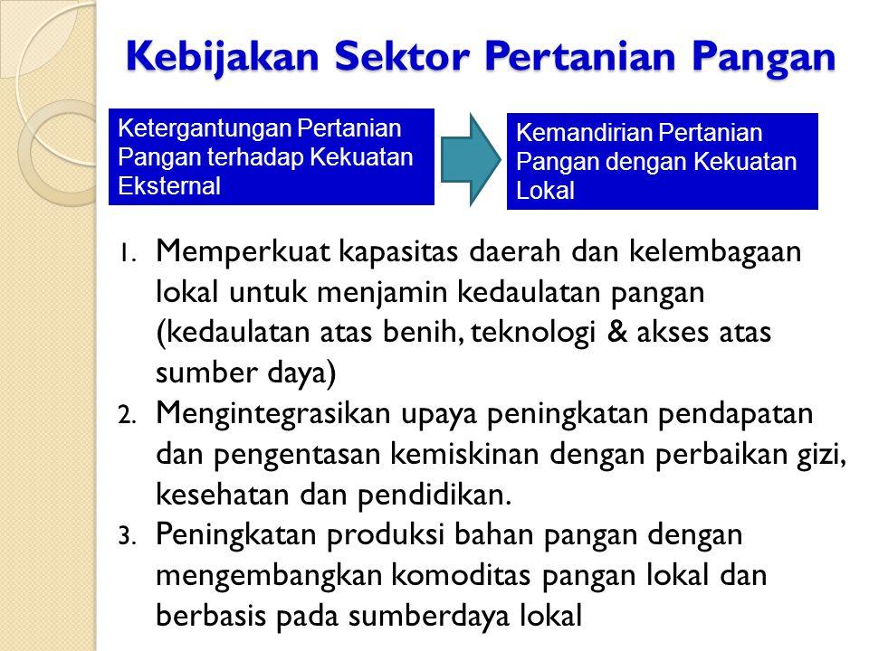 Kebijakan Sektor Pertanian Pangan 1. Memperkuat kapasitas daerah dan kelembagaan lokal untuk menjamin kedaulatan pangan (kedaulatan atas benih, teknol