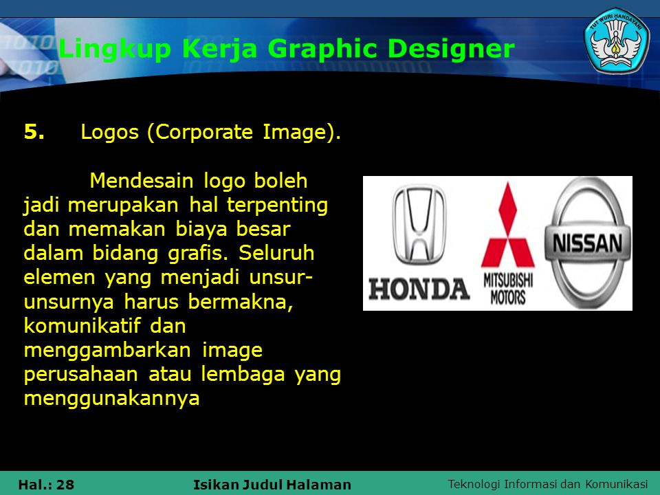 Teknologi Informasi dan Komunikasi Hal.: 28Isikan Judul Halaman Lingkup Kerja Graphic Designer 5. Logos (Corporate Image). Mendesain logo boleh jadi m