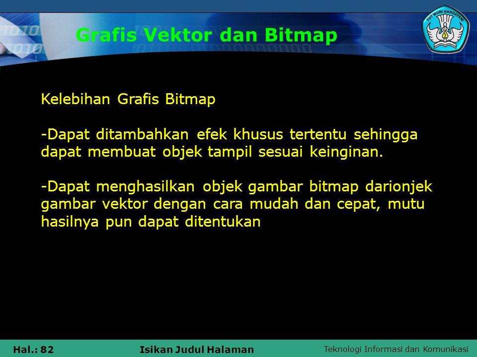 Teknologi Informasi dan Komunikasi Hal.: 82Isikan Judul Halaman Grafis Vektor dan Bitmap Kelebihan Grafis Bitmap -Dapat ditambahkan efek khusus terten