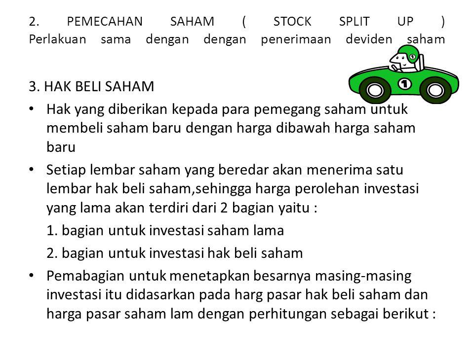 2. PEMECAHAN SAHAM ( STOCK SPLIT UP ) Perlakuan sama dengan dengan penerimaan deviden saham 3. HAK BELI SAHAM • Hak yang diberikan kepada para pemegan