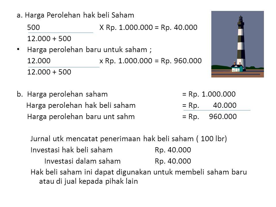 a. Harga Perolehan hak beli Saham 500 X Rp. 1.000.000= Rp. 40.000 12.000 + 500 • Harga perolehan baru untuk saham ; 12.000x Rp. 1.000.000= Rp. 960.000