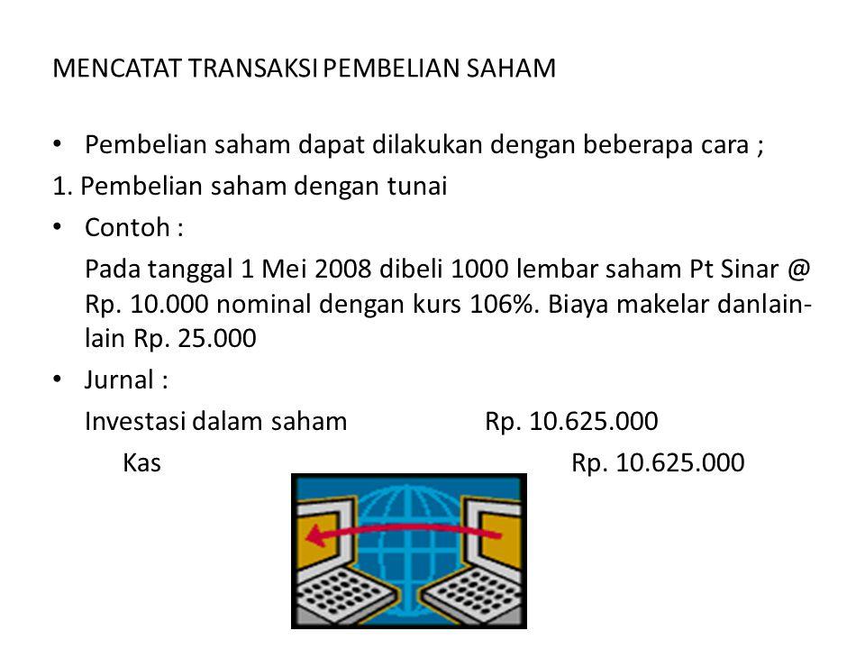 a.Harga Perolehan hak beli Saham 500 X Rp. 1.000.000= Rp.