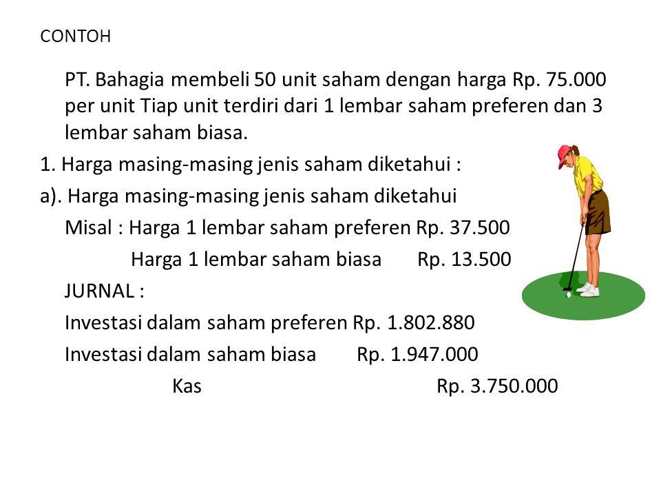 Contoh : • Pada tanggal 1 Mei 2000 PT.Rahayu membeli 1000 lbr saham dengan harga Rp.