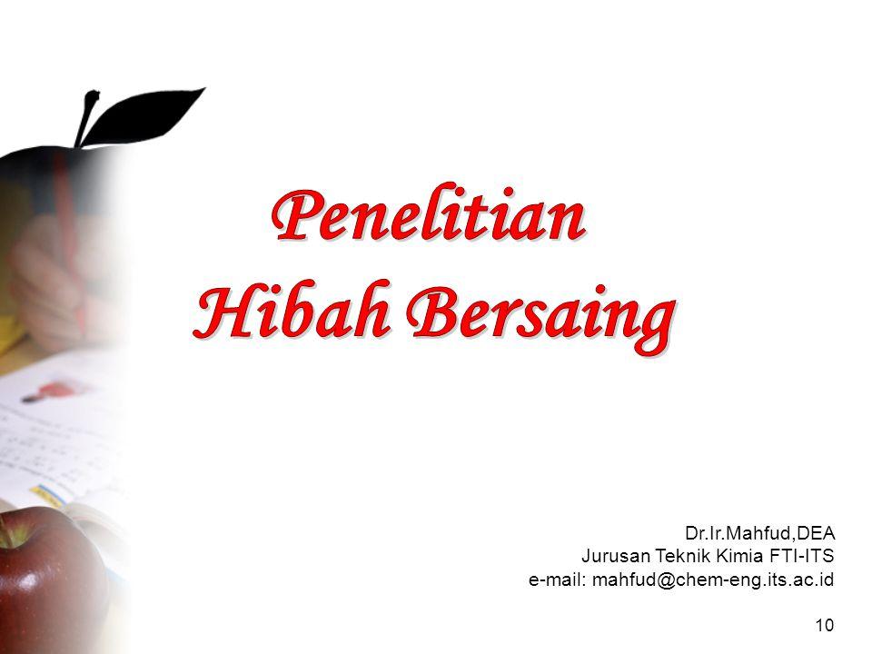 10 Dr.Ir.Mahfud,DEA Jurusan Teknik Kimia FTI-ITS e-mail: mahfud@chem-eng.its.ac.id