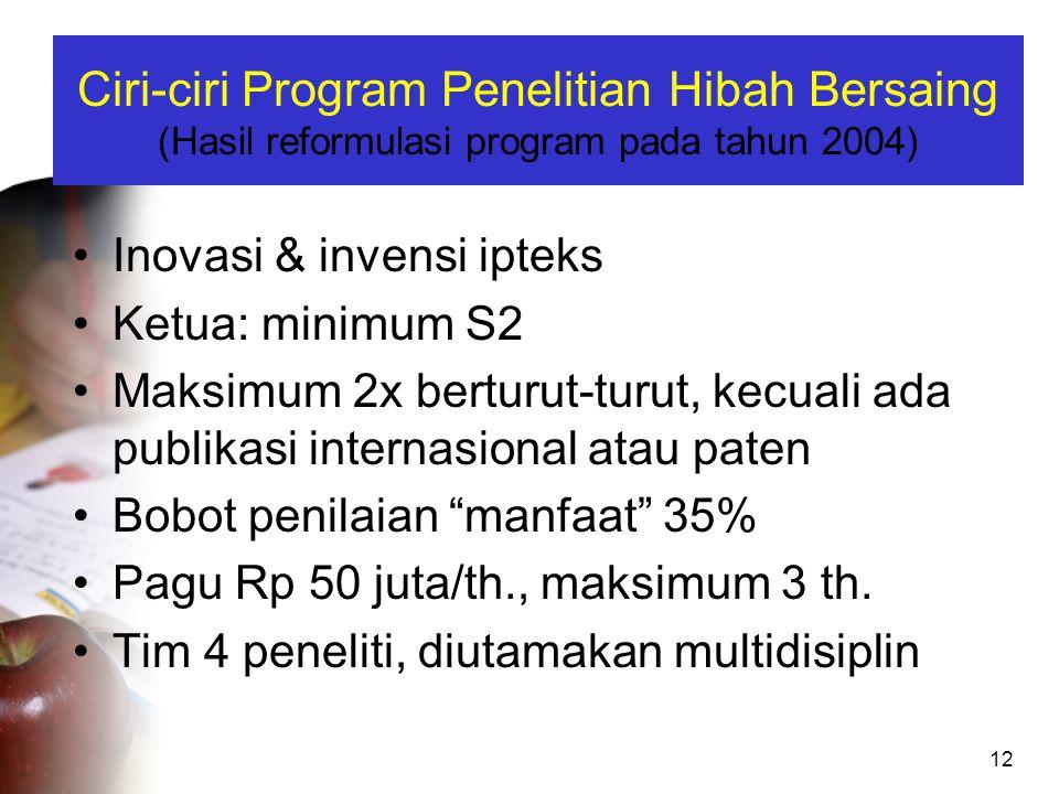 12 Ciri-ciri Program Penelitian Hibah Bersaing (Hasil reformulasi program pada tahun 2004) •Inovasi & invensi ipteks •Ketua: minimum S2 •Maksimum 2x b