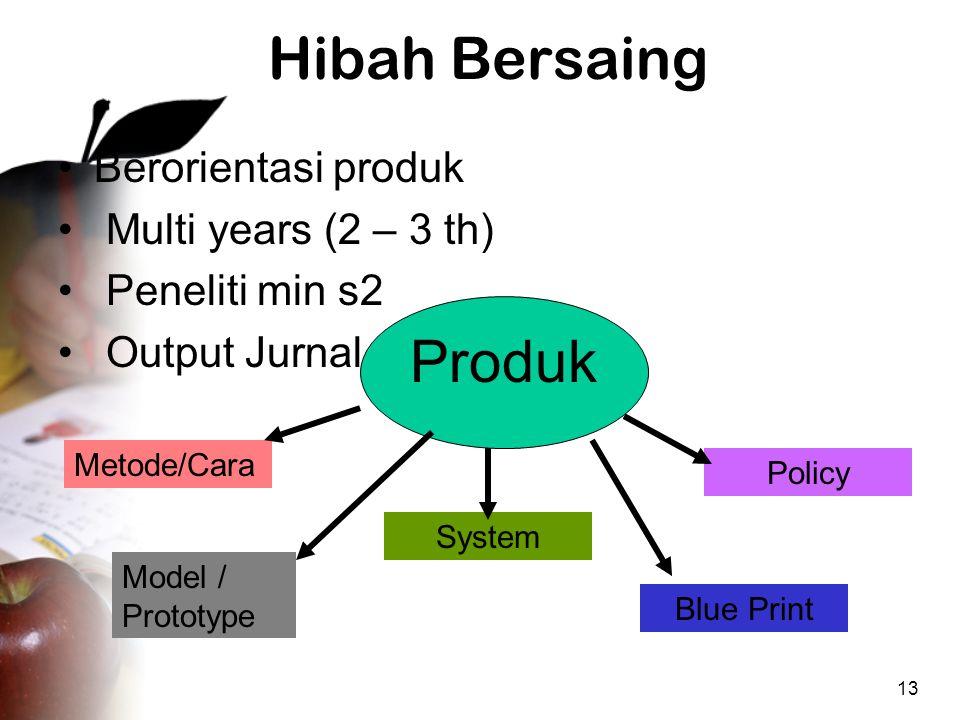 13 Hibah Bersaing •Berorientasi produk • Multi years (2 – 3 th) • Peneliti min s2 • Output Jurnal Produk Metode/Cara Model / Prototype System Blue Print Policy