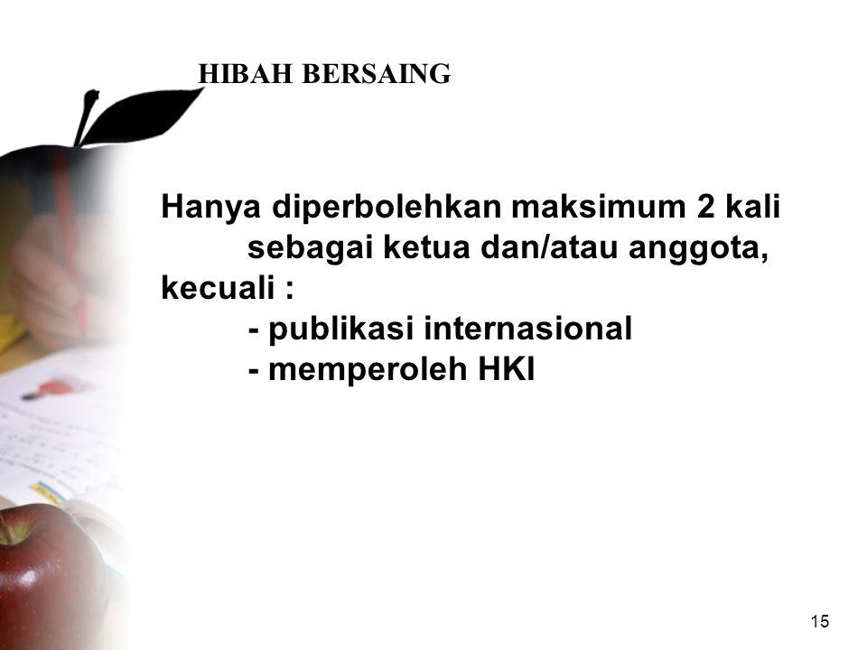 15 HIBAH BERSAING Hanya diperbolehkan maksimum 2 kali sebagai ketua dan/atau anggota, kecuali : - publikasi internasional - memperoleh HKI