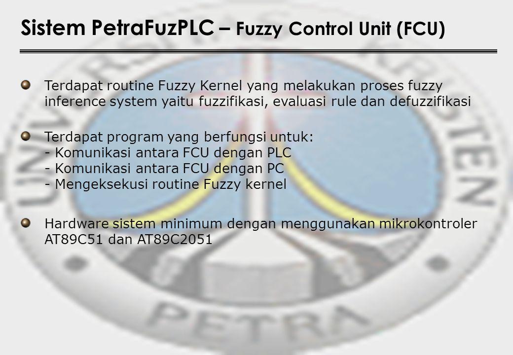 Sistem PetraFuzPLC – Fuzzy Control Unit (FCU) Terdapat routine Fuzzy Kernel yang melakukan proses fuzzy inference system yaitu fuzzifikasi, evaluasi r