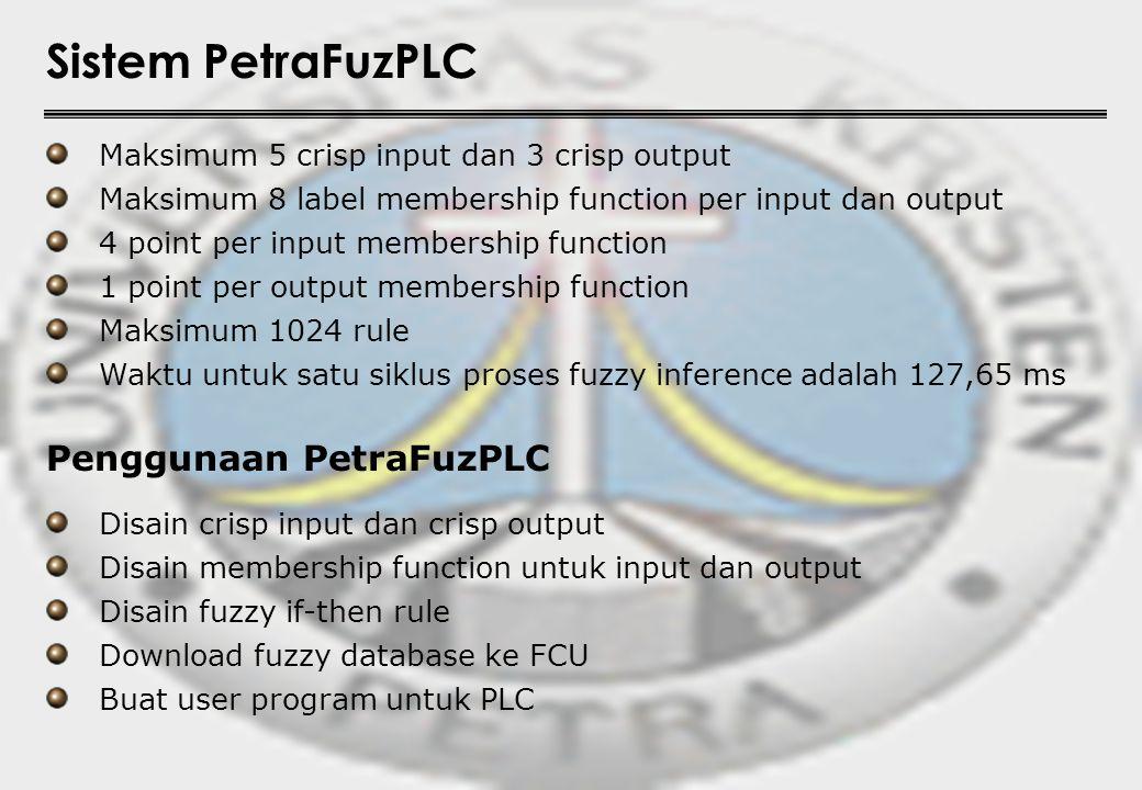 Sistem PetraFuzPLC Maksimum 5 crisp input dan 3 crisp output Maksimum 8 label membership function per input dan output Maksimum 1024 rule 1 point per