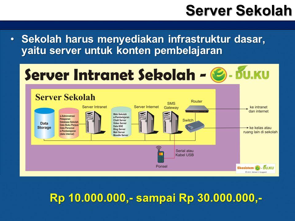 •Sekolah harus menyediakan infrastruktur dasar, yaitu server untuk konten pembelajaran Server Sekolah Rp 10.000.000,- sampai Rp 30.000.000,-