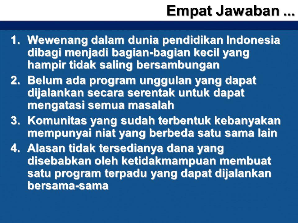 1.Wewenang dalam dunia pendidikan Indonesia dibagi menjadi bagian-bagian kecil yang hampir tidak saling bersambungan 2.Belum ada program unggulan yang