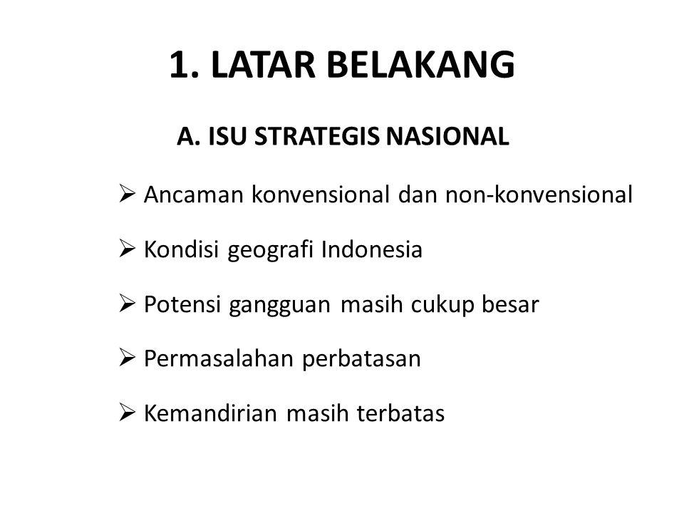 1. LATAR BELAKANG  Ancaman konvensional dan non-konvensional  Kondisi geografi Indonesia  Potensi gangguan masih cukup besar  Permasalahan perbata