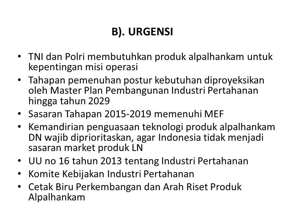 • TNI dan Polri membutuhkan produk alpalhankam untuk kepentingan misi operasi • Tahapan pemenuhan postur kebutuhan diproyeksikan oleh Master Plan Pemb