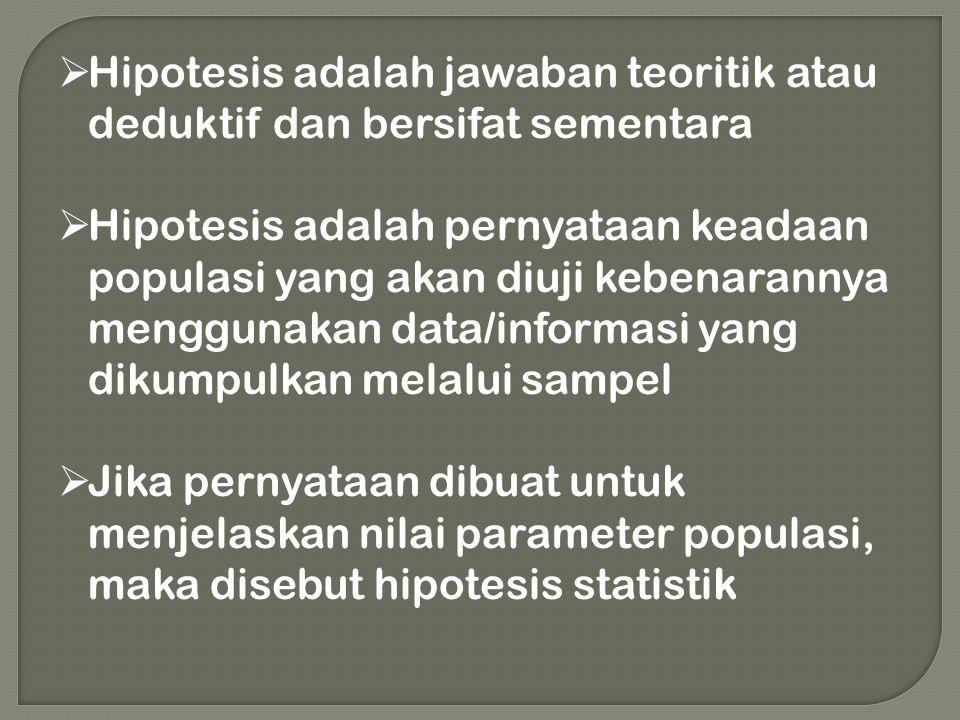  Hipotesis adalah jawaban teoritik atau deduktif dan bersifat sementara  Hipotesis adalah pernyataan keadaan populasi yang akan diuji kebenarannya m
