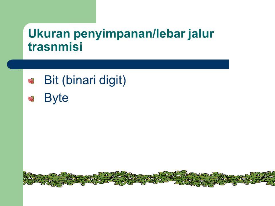 Ukuran penyimpanan/lebar jalur trasnmisi Bit (binari digit) Byte