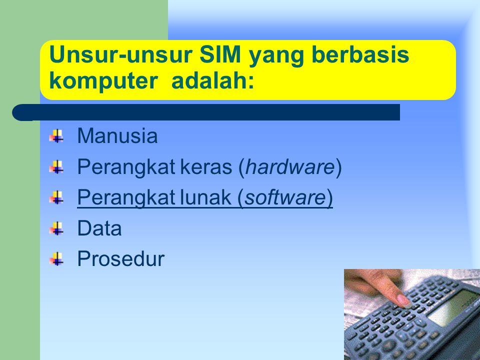 kuliah perdana Unsur-unsur SIM yang berbasis komputer adalah: Manusia Perangkat keras (hardware) Perangkat lunak (software) Data Prosedur