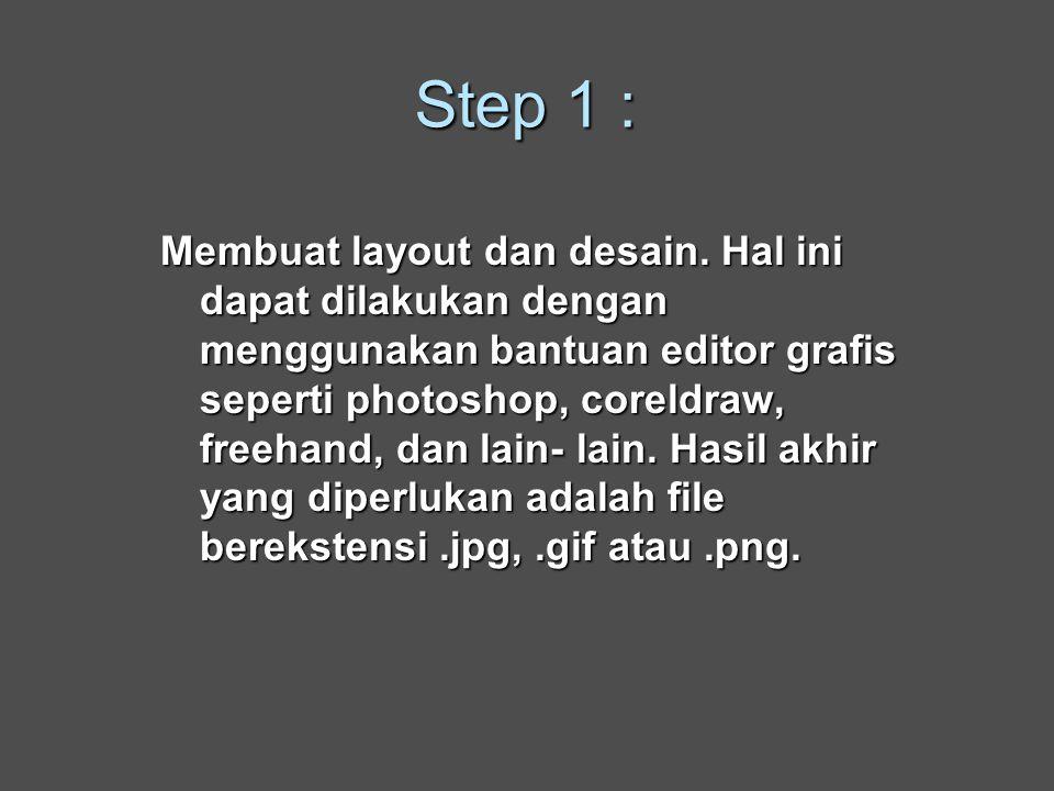 Step 1 : Membuat layout dan desain.