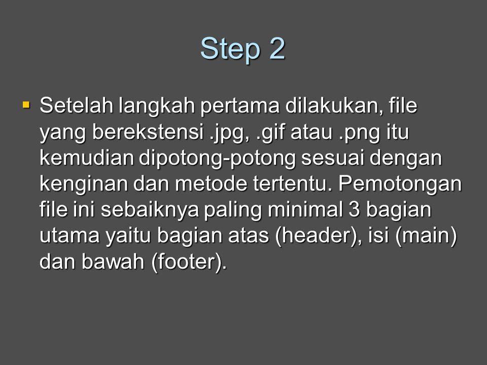 Step 2  Setelah langkah pertama dilakukan, file yang berekstensi.jpg,.gif atau.png itu kemudian dipotong-potong sesuai dengan kenginan dan metode tertentu.