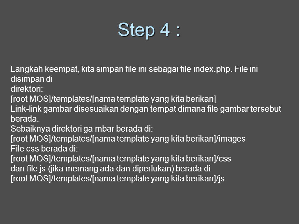 Step 4 : Langkah keempat, kita simpan file ini sebagai file index.php.