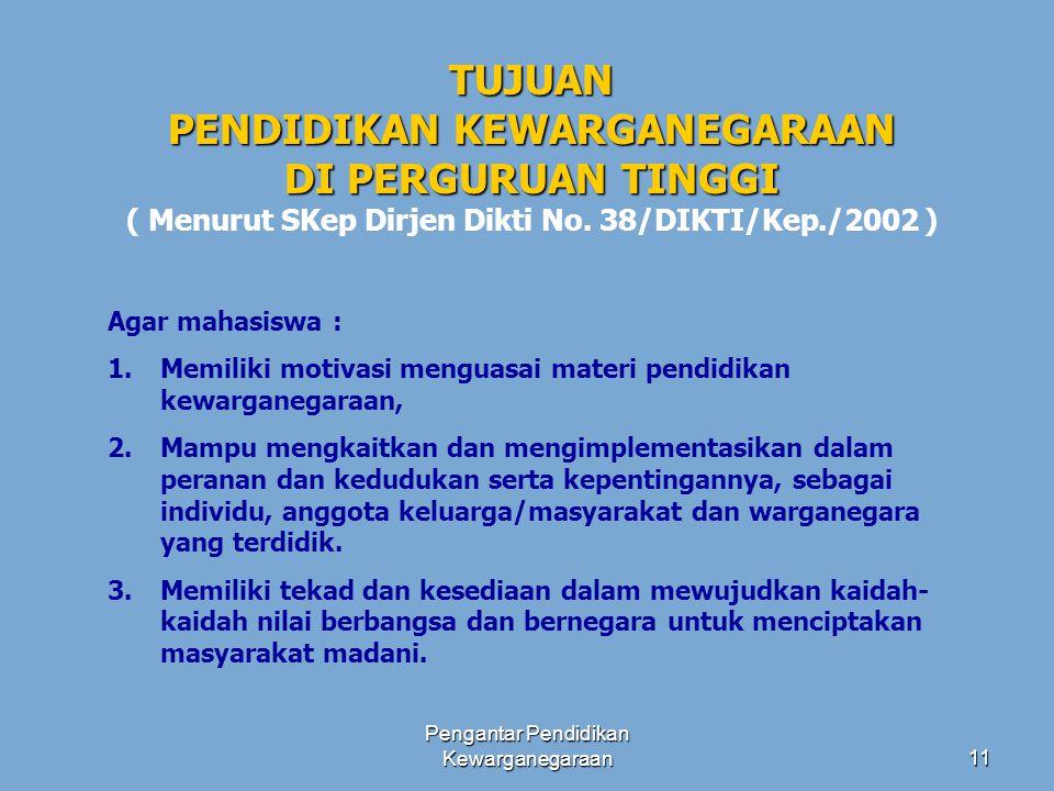 Pengantar Pendidikan Kewarganegaraan10 KOMPETENSI PENDIDIKAN KEWARGANEGARAAN DI PERGURUAN TINGGI ( KOMPETENSI PENDIDIKAN KEWARGANEGARAAN DI PERGURUAN