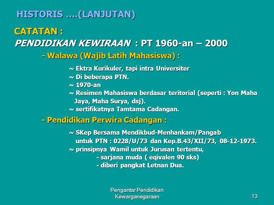 Pengantar Pendidikan Kewarganegaraan12 HISTORIS PENDIDIKAN KEWARGANEGARAAN DI INDONESIA SEJAK 1960-AN SAMPAI SAAT INI  CIVICS/KEWARGAAN NEGARA : SMA/