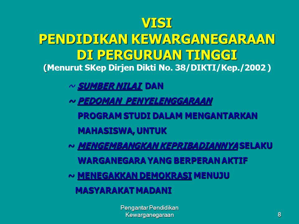 7 SASARAN PEMBELAJARAN PKN DI PERGURUAN TINGGI WAWASAN KEWARGA- NEGARAAN INDONESIA PERCAYA DIRI SBG BANGSA KOMITMEN BELA NEGARA KETERAMPILAN KEWARGANE
