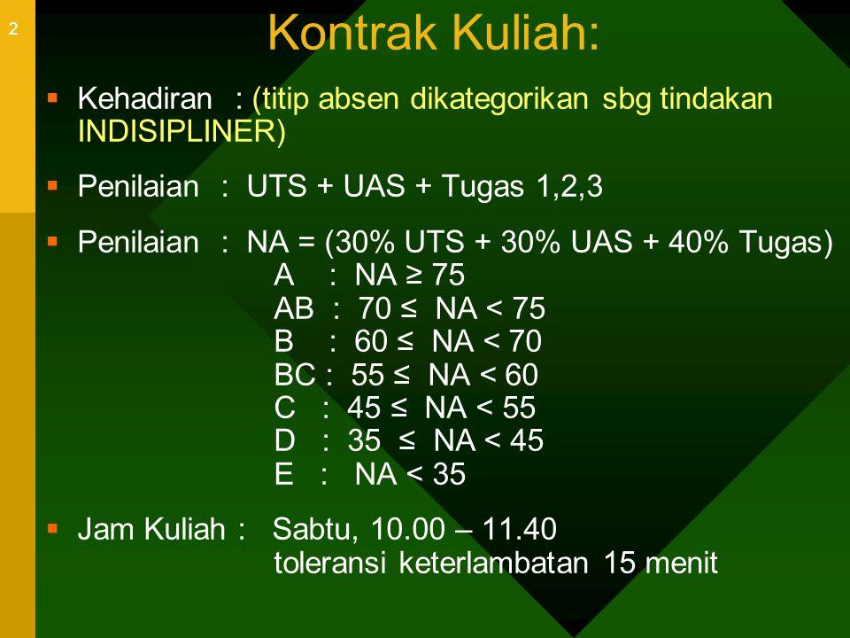 2 Kontrak Kuliah:  Kehadiran : (titip absen dikategorikan sbg tindakan INDISIPLINER)  Penilaian : UTS + UAS + Tugas 1,2,3  Penilaian : NA = (30% UT