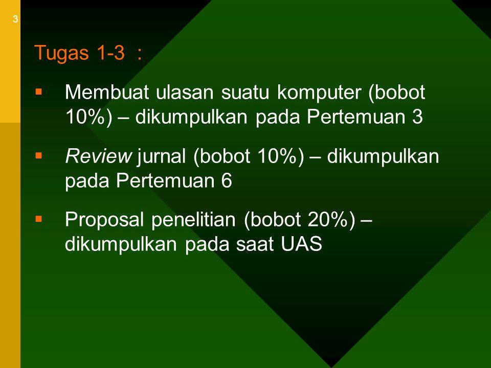 3 Tugas 1-3 :  Membuat ulasan suatu komputer (bobot 10%) – dikumpulkan pada Pertemuan 3  Review jurnal (bobot 10%) – dikumpulkan pada Pertemuan 6 
